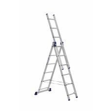 Лестница строительная трехсекционная алюминиевая 3х6