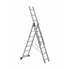 Лестница строительная трехсекционная алюминиевая 3х7