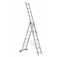 Лестница строительная трехсекционная алюминиевая 3х8
